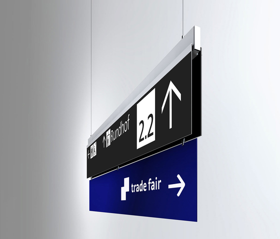 Signage System Messe Basel by BURRI – Ceilign sign by BURRI | Symbols / Signs