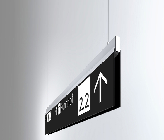 Signage System Messe Basel by BURRI – Ceiling sign by BURRI | Media displays