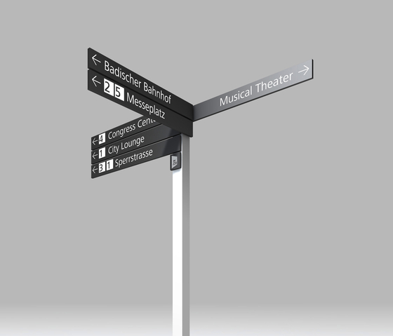 Signage System Messe Basel by BURRI – Signposts for outdoor areas by BURRI | Symbols / Signs