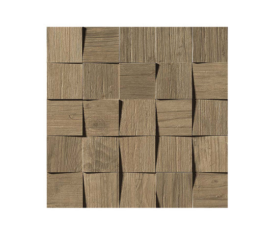 Axi Brown Chestnut Mosaico 3D by Atlas Concorde | Ceramic tiles
