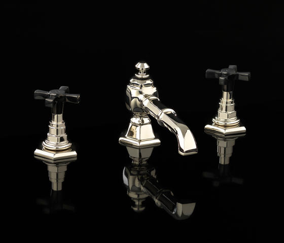 Jubilee Black Cross 3 hole basin set by Devon&Devon | Wash-basin taps
