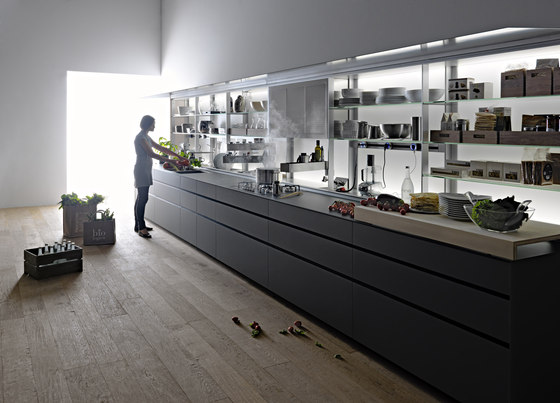 New Logica System Vitrum | Cemento by Valcucine | Fitted kitchens