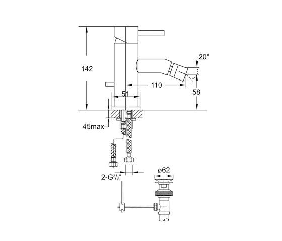100 1300 Single lever bidet mixer de Steinberg | Grifería para bidés