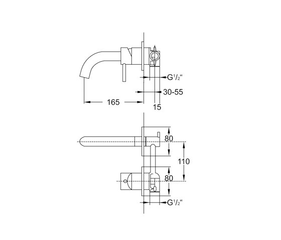100 1801 Wall mounted single lever basin mixer by Steinberg | Wash basin taps