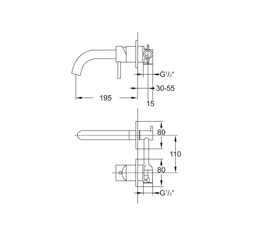 100 1816 Wall mounted single lever basin mixer by Steinberg   Wash basin taps
