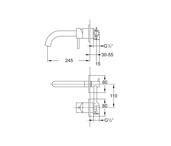 100 1820 Wall mounted single lever basin mixer by Steinberg | Wash basin taps