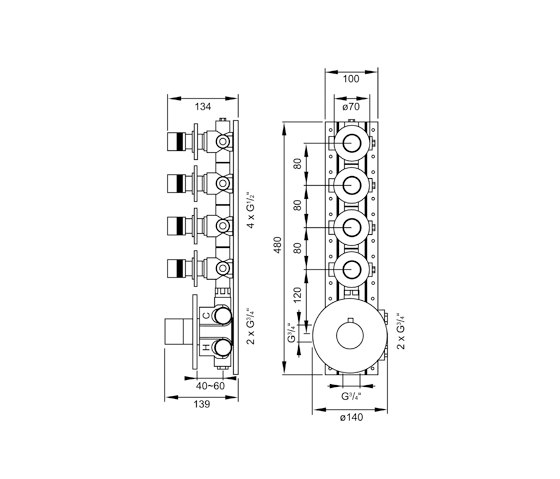 """100 4340 Concealed thermostatic mixer 3/4"""" including finish set by Steinberg 