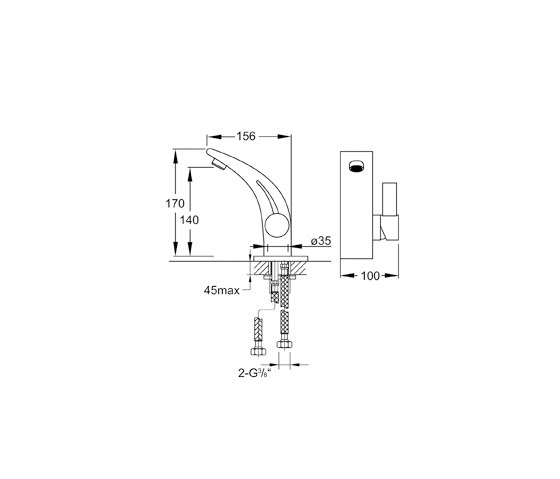 180 1010 Single lever basin mixer without pop up waste de Steinberg | Grifería para lavabos