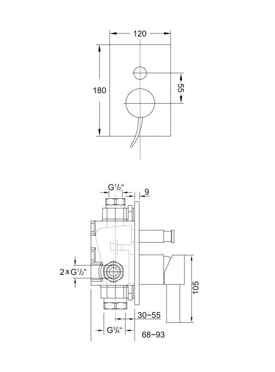 180 2103 Fertigmontageset für Wanne|Brause-EInhebelmischbatterie von Steinberg | Badewannenarmaturen