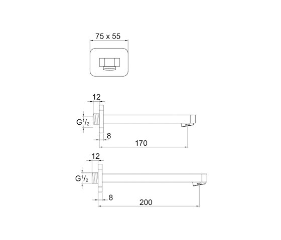 230 2310 Wall spout for basin or bathtub by Steinberg   Wash basin taps