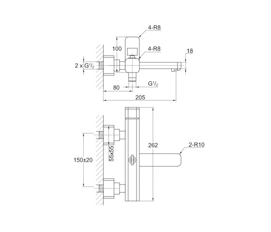 """235 1100 Exposed single lever mixer ½"""" for bathtub by Steinberg 