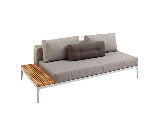 Grid Left End Table Unit - Teak Top by Gloster Furniture | Garden sofas