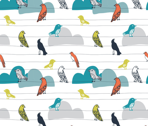 A Colourful World | Birds On A Wire by wallunica | Wall coverings / wallpapers
