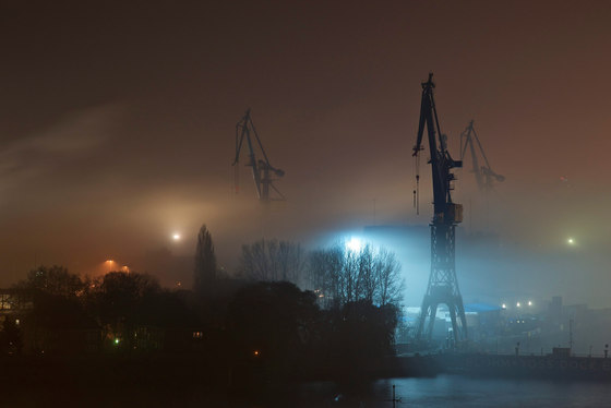 Hamburg | Container port in Hamburg in the fog by wallunica | Wall art / Murals