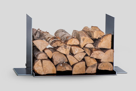 wineTee® wood log holder by lebenszubehoer by stef's | Fireplace accessories