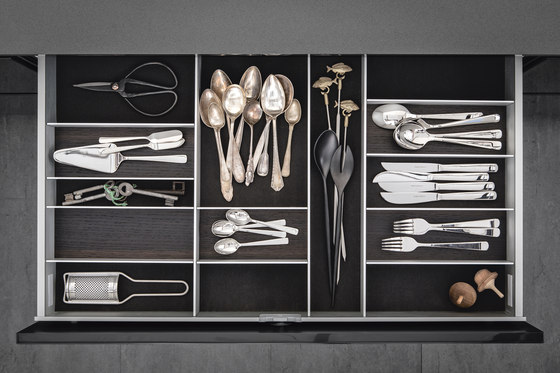 Interior | Aluminum interior accessories, smoked chestnut by SieMatic | Kitchen organization