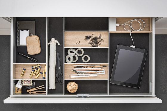 Interior  Aluminum interior accessories, light oak by SieMatic   Kitchen organization