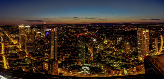 Frankfurt | The skyline of Frankfurt am Main in the evening by wallunica | Wall art / Murals