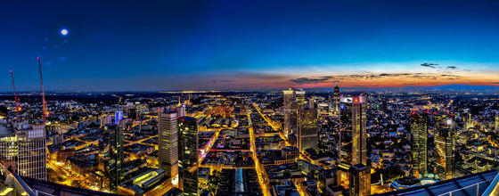 Frankfurt | The skyline of Frankfurt am Main in the evening by wallunica | Wall art / Murals