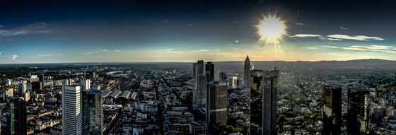 Frankfurt | Sunset over the skyline of Frankfurt am Main by wallunica | Wall art / Murals