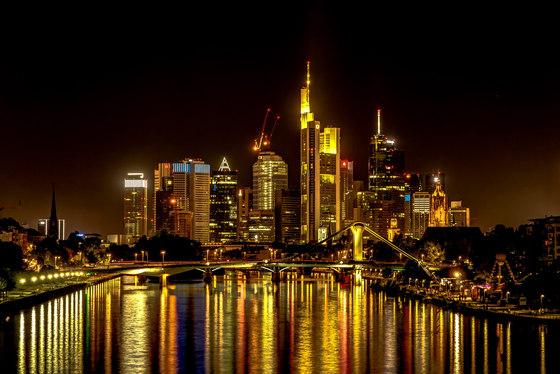 Frankfurt | The skyline of Frankfurt am Main at night by wallunica | Wall art / Murals