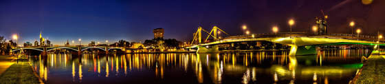 Frankfurt | The Main river in Frankfurt at night by wallunica | Wall art / Murals