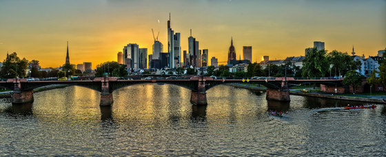 Frankfurt | Sunset at the Main in Frankfurt by wallunica | Wall art / Murals