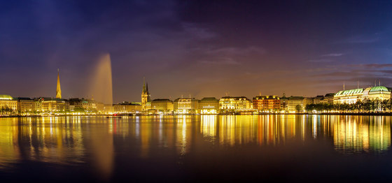Hamburg | The Inner Alster in Hamburg at night by wallunica | Wall art / Murals