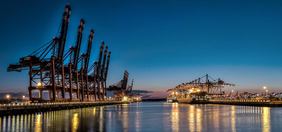 Hamburg | Container port on the Elbe in Hamburg at night by wallunica | Wall art / Murals