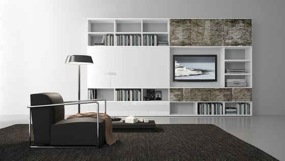 Pari & Dispari Sliding door arrangements by Presotto | Wall storage systems