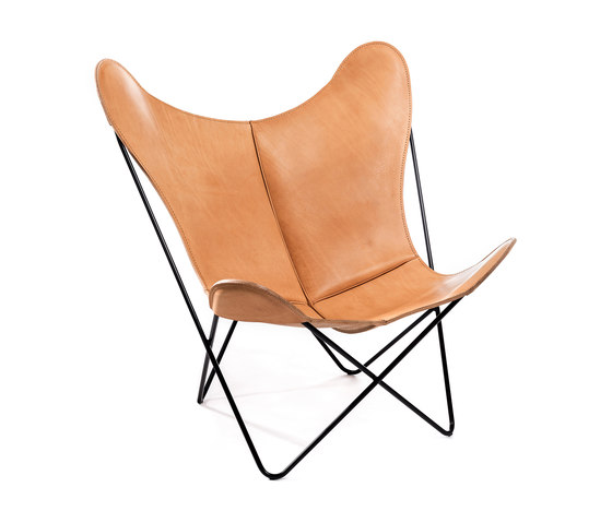 Hardoy Butterfly Chair Sattel-Leder Natur by Manufakturplus | Lounge chairs