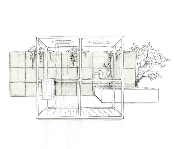 Wazebo outdoor shower pavilion - double version di Kos | Doccie da giardino