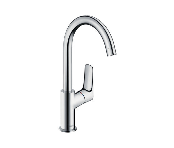 hansgrohe Logis Single lever basin mixer 210 with swivel spout with 120° range and pop-up waste set by Hansgrohe | Wash basin taps