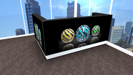 Linea Black Linea reception desk with graphic by MDD | Reception desks