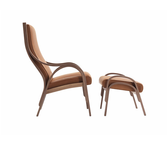 Cavour Armchair with Footstool by Poltrona Frau | Lounge chairs