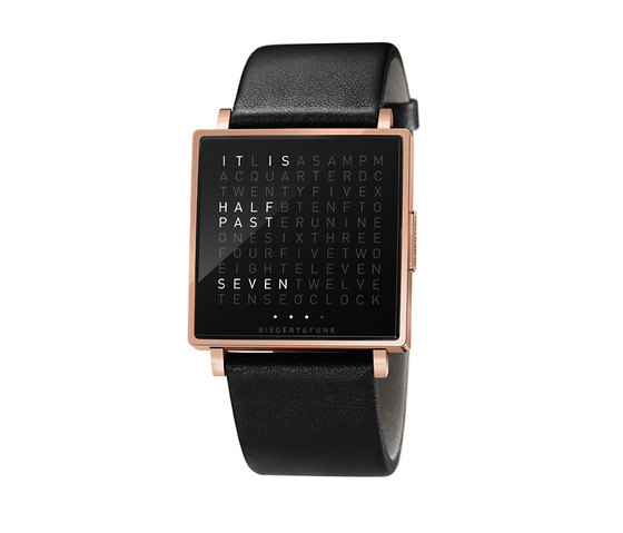 QLOCKTWO® W Rosegold Polished by BIEGERT&FUNK | Wrist watches
