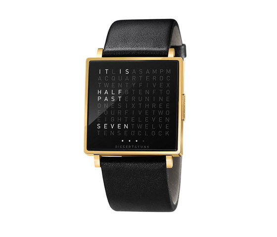 QLOCKTWO® W Yellowgold Polished by BIEGERT&FUNK | Wrist watches