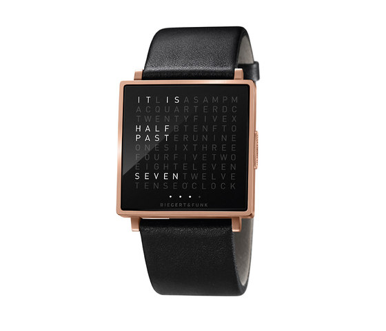 QLOCKTWO® W Rosegold Brushed by BIEGERT&FUNK | Wrist watches