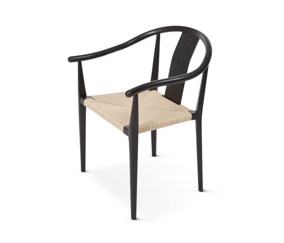 Shanghai Dining Chair, Paper Cord - Black/Natural by NORR11 | Restaurant chairs