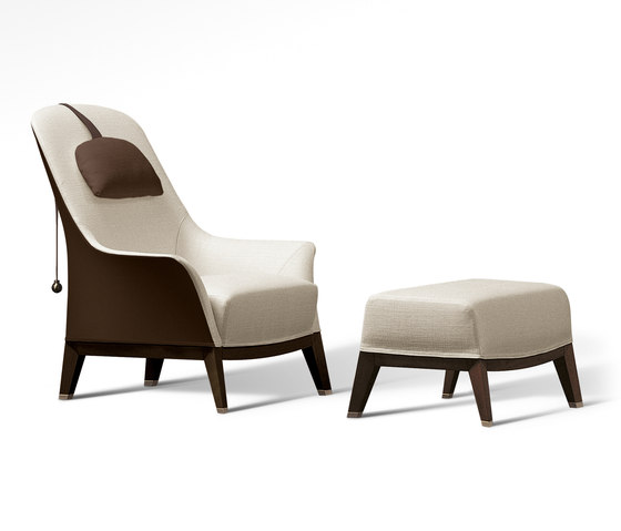 Normal Wing Chair with Footrest de Giorgetti | Sillones
