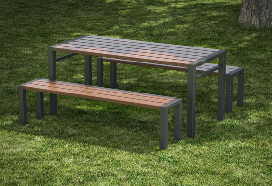 Basic table and backless bench by Concept Urbain | Tables and benches