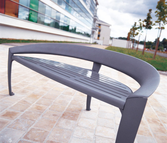 Nastra metal low backless bench by Concept Urbain | Benches