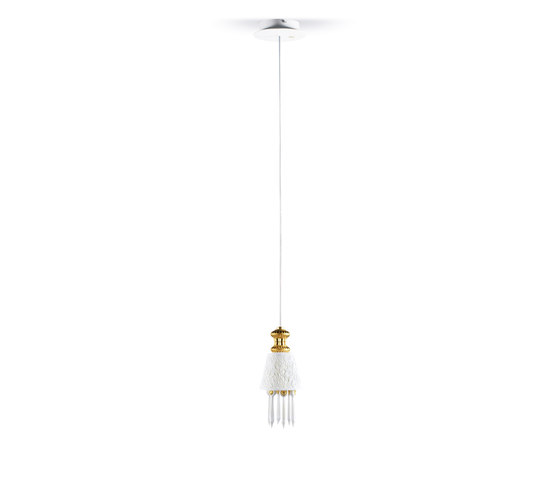 Belle de Nuit - Lithophane hanging lamp (gold) by Lladró | General lighting
