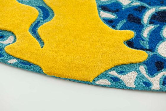 Blue China Rug Yellow 1 von GAN | Formatteppiche