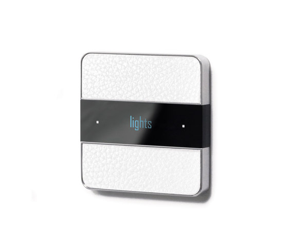 Deseo intelligent thermostat - white leather by Basalte | KNX-Systems