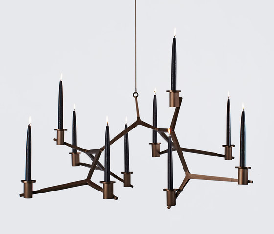 Agnes candelabra hanging 10 candles bronze de Roll & Hill | Chandeliers