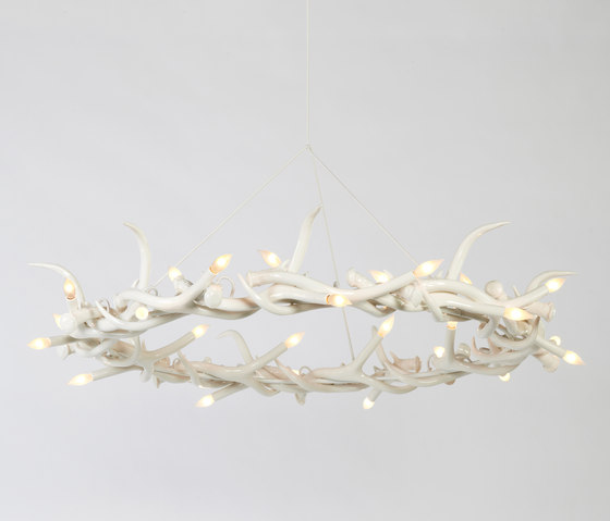 Superordinate Antler Chandelier - 27 Antler Ring (White) by Roll & Hill | Chandeliers
