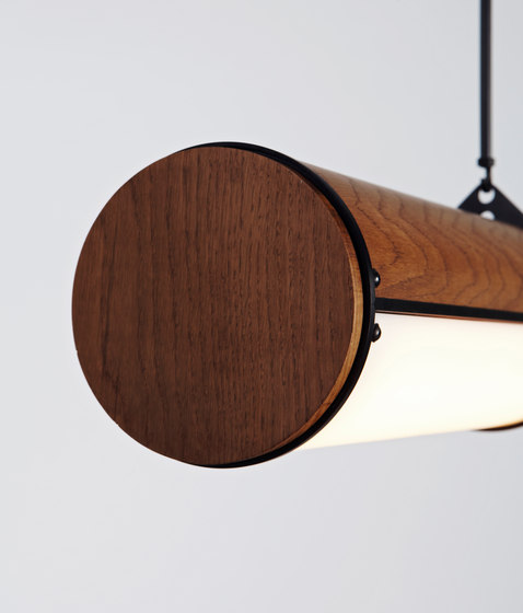 Woody Endless Straight - 3 Units (Black/Stained Oak) by Roll & Hill | Suspended lights