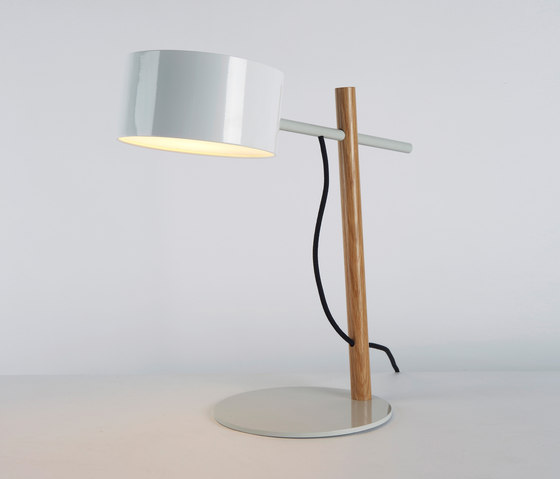 Excel Desk Lamp (White/Oak) by Roll & Hill | Table lights