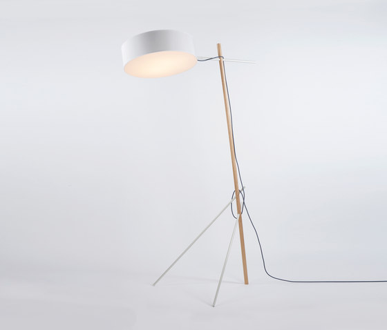 Excel Floor Lamp (White/Oak) by Roll & Hill | Free-standing lights